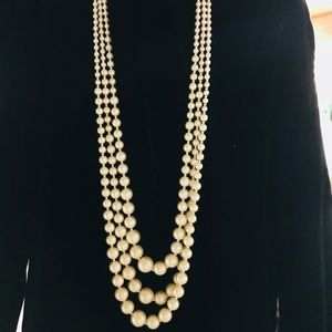 Jewelry - 3 Rows of Glowing Faux Pearls w/Goldtone Spacers